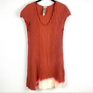 Free People Ribbed Jersey T-Shirt Dip Dyed Dress